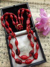 Vintage 50s Double Strand Bright Red Art Glass Beads Necklace SUPERB COND. Gift