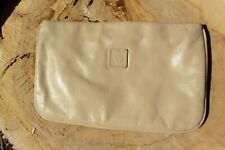 vintage Anne Klein tan leather clutch bag handbag tablet 80's purse lion tag