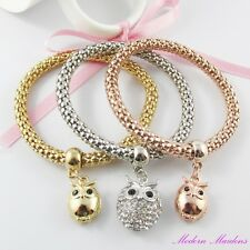 3pce Three Tone Mother & Baby Owl Charm Stretch Popcorn Chain Bracelet Set
