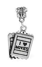I Love Movies Theater Tickets Heart Film Dangle Charm for European Bead Bracelet