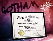 GOTHAM Arkham Asylum Certificate of INSANITY w/ YOUR name Signed, comic fan gift