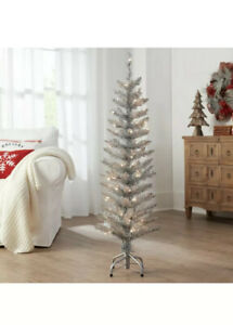 4 FT  Pre-Lit Tinsel Silver Christmas Tree w/50 Strung Clear Lights Holiday Time