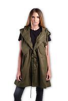 NLST Size XS Oversized Green Cotton Military Long Vest Jacket Drawstring Hood