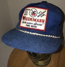 VTG WIEDEMANN Fine Beer 70s 80s USA CORDUROY Blue Hat Cap Strapback Derby Cap CO