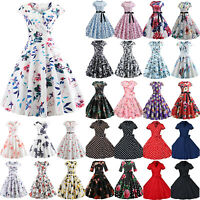 Women 50s 60s Style Vintage Pinup Evening Party Rockabilly Swing Hepburn Dresses