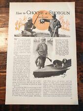 1932 How to Choose a Shotgun Hunting Shooting Gauge Barrel Choke