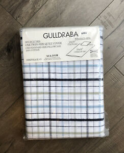 GULLDRABA IKEA Twin Size Bed Quilt Cover Plaid White Blue Green New NWT In Bag