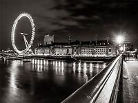 CULTURAL LANDSCAPE LONDON EYE FERRIS BLACK WHITE POSTER ART PRINT PICTURE BB798A