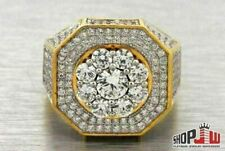 Lab Made Simulated Diamond Mens Ring .925 Silver Pinky Cluster Octagon Drip