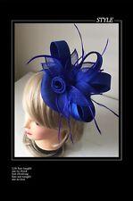 Classic Sinamay Fascinators Vintage Royal Blue Satin Flower Races Wedding Party