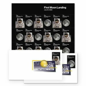 US NASA #5399-5400 FIRST MOON LANDING 7.20.69 FOREVER 24 STAMP SHEET + 2 DCP FDC