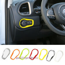 yellow ABS Headlight Switch Decoration Frame Trim for Jeep Renegade 2015 2016