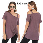 Women's Side Twisted Top Casual Tunic Strapless One-shoulder Sexy Short Sleeve