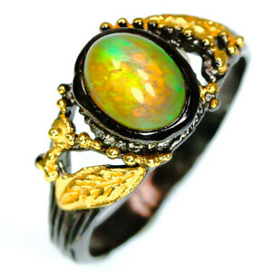 2 Tone silver colorThai  Natural Opal 925 Sterling Silver  Ring / RVS275