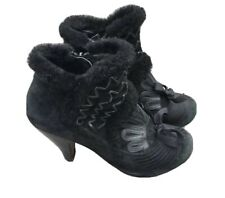 Chie Mihara Ankle Boots 5 38 Heels Rare Victorian Gothic Retro Suede Fur Black