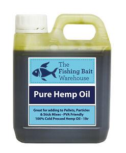 100% Pure Hemp Oil 1ltr - Fishing Bait, Carp, Bait Dip, PVA Friendly - 1 Litre