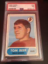 1968 TOPPS FOOTBALL #42 TOM BEER *PSA GRADED NM 7 **SHARP*