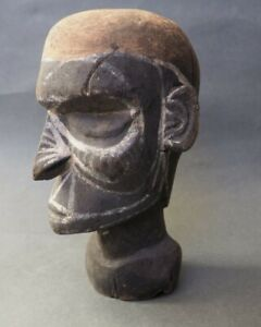 GOOD UNUSUAL OCEANIC PAPUA NEW GUINEA CARVED WOODEN MALE BUST SUBSTITUTE HEAD NR