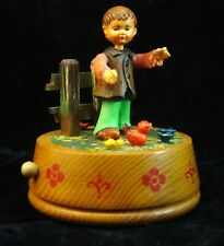 Vintage Anri Carved Wood Boy - Cardinal Red Bird Music Box Plays As Time Goes By