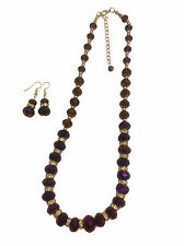 PURPLE SPARKLY  CRYSTAL FACETED BEADS NECKLACE & EARRING SET,,,  WITH GIFT BAGS