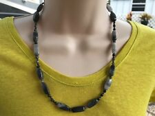 HDMD by Cyndi Necklace of Black and Gray Marble & Black Agate Stone Beads