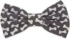 Dog Bow Tie Slip On Bones Large Gray Elastic Bands Slips Over Collar New