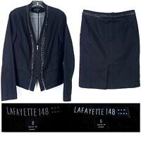 LAFAYETTE 148 Womens size 6/8 Skirt Suit Set Black Denim Zip Jacket Chain Detail