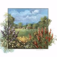 "36""x36"" FISCHLAND I by K. SCHOTTLER FLOWER GARDER with GRASS FIELD CANVAS"