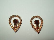 Vintage Unsigned Topaz Tear Drop with AB Arora Borelis Round Goldtoned Setting