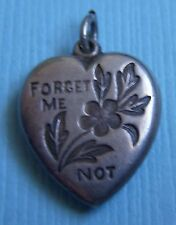 """heart """"Gene"""" sterling charm Vintage forget me not puffy"""
