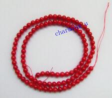 1 filo di perline 102pz in corallo rosso tondo 4mm bijoux