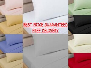 Non Iron Percale Bed Sheets Fitted, Flat, Valance, Base Valance, ~ 10 COLOURS ~