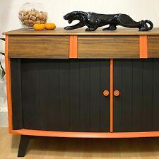 Retro Sideboard / Drinks Cabinet Mid Century Modern Tambour Doors Black Welders