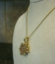 JEWELMINT Pendant w/ Beige Glass Freeform Stone, Rhinestone Accents FREE SHIP