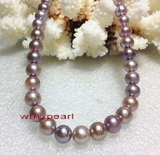 "AAAAA 18""9-10mm REAL NATURAL round south sea pink purple pearl necklace 14K gold"