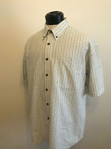 ENRO Men's Shirt Seersucker Striped Shirt Blue Green White Size Large- XL EUC