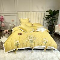 Premium Embroidery Cotton Yellow Duvet Cover Bedding Set Queen King Size Bed Set