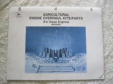 1993 John Deere Tractor,Combine,300 Ser.Diesel Engine Overhaul Kits Parts Manual