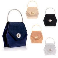 Ladies Satin Box Clutch Bag Girls Clasp Evening Bag Glitter Hoop Handbag KW2565