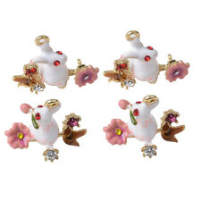 4 Enamel 54x38mm Easter Bunny Charms Jewellery Making