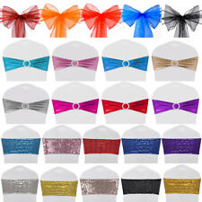 10/50x Chair Sashes Stretch Bows Bands Sequin / Organza / Shiny Foil for Wedding