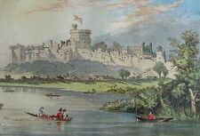 WINDSOR CASTLE FROM THE THAMES - Chromolithograph C1875, Edmund Evans