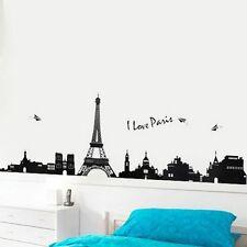 Black Paris City Eiffel Tower Wall Sticker Decal Vinyl Art Home Decor 130*39.5CM