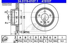 ATE Juego de 2 discos freno Trasero 276mm ventilado para BMW Serie 3