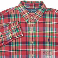 POLO RALPH LAUREN Button-Down Shirt XL Ruby Red Multicolor Plaid Cotton Flannel