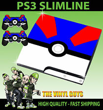 Playstation PS3 SLIM Pegatina Gran POKEBALL POKEMON GO Catch Piel & 2 PAD PIEL