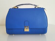 FLORIAN LONDON WOMEN'S LEATHER PERFORATED CLASSIC VIENNA TOTE BLUE