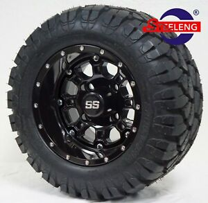 """GOLF CART 10"""" PANTHER WHEELS/RIMS and 18""""x9""""-10"""" DOT STINGER A/T TIRES"""