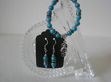Hand Crafted Silver Tone Genuine Turquoise Bead Bracelet and Earrings Set