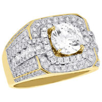 10K Yellow Gold Men's Round Solitaire Diamond Pinky Ring Mounting Band 1.82 CT.